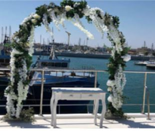 Picture postcard wedding reception catamaran in Cyprus