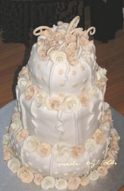 Whimsy Cream and White Wedding Cake