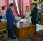 Signing the registry in Paphos - legalising the wedding ceremony - an important part of getting maried in Cyprus or anywhere else.
